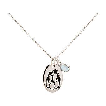 Penguin familj vinter smycken kedja chalcedony hänge 925 silver, guldpläterad ros