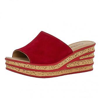Gabor Trixie Modern Slip On Wedge Sandals In Red Suede