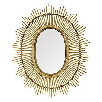 "36"" Oval Bamboo Wood Framed Wall Mirror"