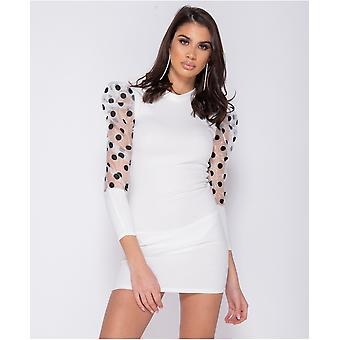 Sheer Polka Dot Organza Sleeve Bodycon Mini Dress - White