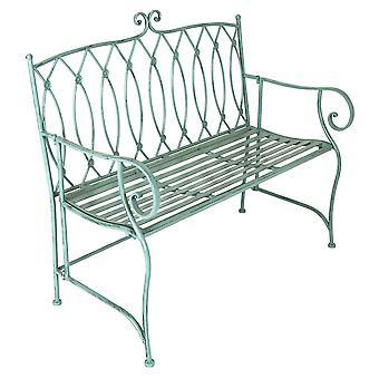 Charles Bentley dekorative Schmiedeeisen im Freien rustikale Bank Garten 2 Sitzer mit eleganten gebogenen Armlehne - Salbei grün