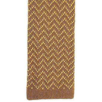 Michelsons van Londen Zig Zag zijde gebreide Skinny Tie - bruin/goud