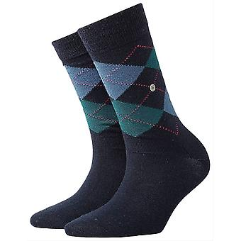Burlington Marylebone Socks - Navy Melange/Green/Grey