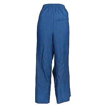 Alfred Dunner Women's Plus Pants Straight Leg Pull On Blue