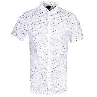 Armani Exchange Slim Fit Skrible Print Hvit Skjorte