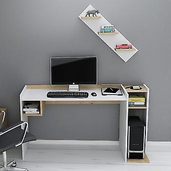 Ezgi Desk White Color, Oak in Melaminic Chip, L146.8xP50xA80 cm, L80xP20xA15 cm
