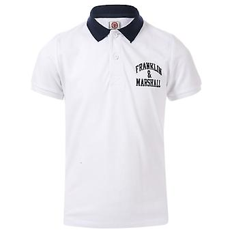 Boy's Franklin And Marshall Junior Core Logo Polo Shirt in White