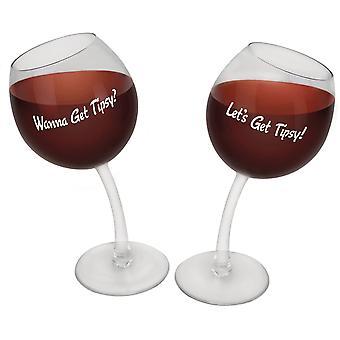 Weingläser schiefe Gläser 2 Stück Lets get tipsy 355ml Weingläser verrückt mit Spruch