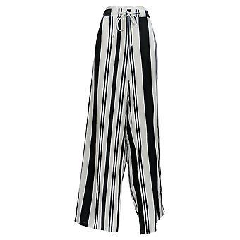K Jordan Women's Plus Pants Striped w/ Elastic Waistband White/Black