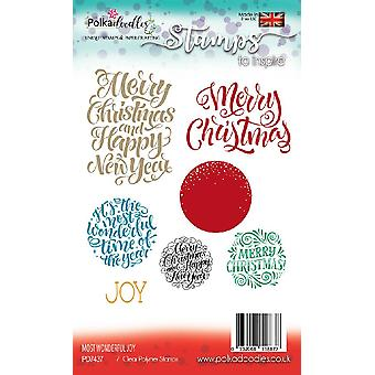 Polkadoodles Most Wonderful Joy Sentiments Clear Stamps