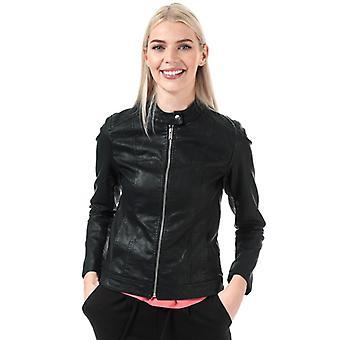 Women's Jacqueline de Yong Stormy Faux Leather Jacket in Black