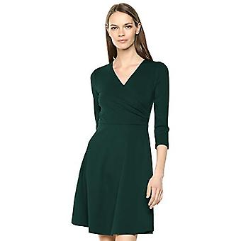Marque - Lark & Ro Women&apos&s Three Quarter Sleeve Faux Wrap Dress, Hunter...
