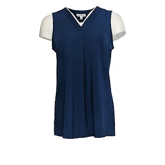 NorthStyle Women's Top V-hals Sleeveless Navy Blue
