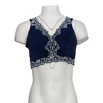 Breezies 1X Soft Support Wirefree Bra w/ Contrast Lace Navy Blue A373660