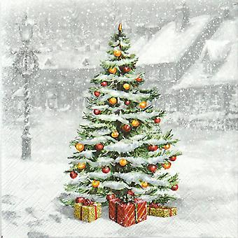 Ambiente 3 Ply Paper Napkins, Tree On Square