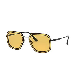 Prada SPR57X 03A0B7 Orange-Gunmetal/Yellow Sunglasses