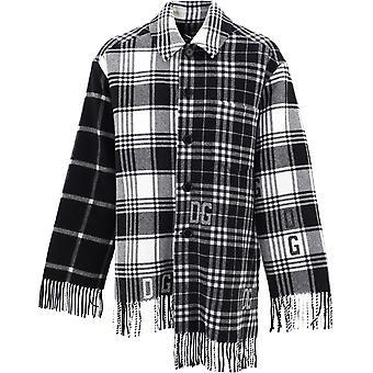 Dolce E Gabbana G9tn1tg7xacs9000 Männer's weiß/schwarz Wolle Shirt
