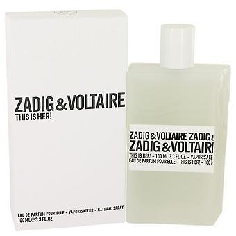 Tämä on hänen eau de parfum spray by zadig & voltaire 536497 100 ml