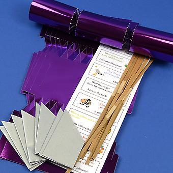 8 Purple Foil Make & Fill Your Own DIY Christmas Cracker Craft Kit