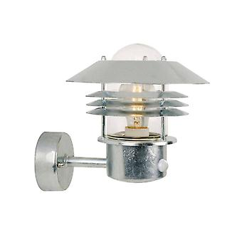 1 Light Outdoor Wall Light Galvanised with Sensor IP54, E27