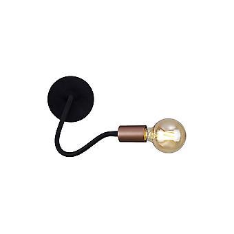 Éclairage Luminosa - Lampe murale flexible, 1 Lumière E27, Satin Noir, Cuivre brossé