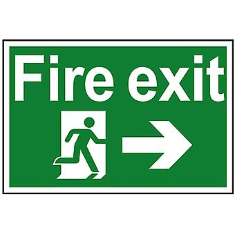 Scan Fire Exit Running Man Arrow Right - PVC 300 x 200mm SCA1504