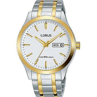 Lorus Męskie Dwucynazyjna metalowa bransoletka sukienka zegarek z białą tarczą (Model. RXN60DX9)