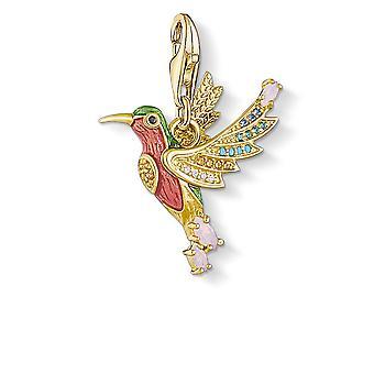 Thomas Sabo Charm Club Sterling Sølv Farverige Kolibri Guld Charm Pendant 1828-974-7