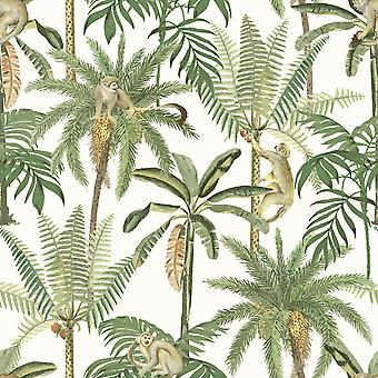 Amazonia Monkey Trees Jungle Wallpaper White World of Wallpaper WOW043