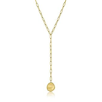 Ania Haie Sterling Silver Shiny Gold Plated Crush Disc Y Necklace N017-01G