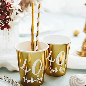 40歳の誕生日ゴールドペーパーパーティーカップデコレーション x 6