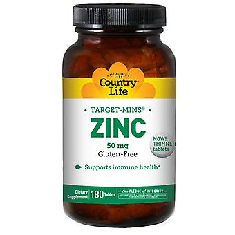 Country Life Zink Target-Mins, 50 mg, 180 Tabs