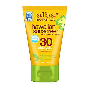 Alba Botanica Hawaiian Sunscreen SPF 30, Aloe Vera 4 oz