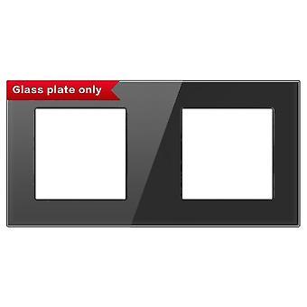 带安装铁板的面板 172mm*86mm 白色水晶钢化玻璃开关