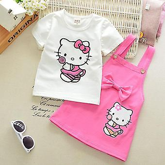 Girl Clothes Cotton Suspender Skirt -summer Short-sleeved T-shirt Set