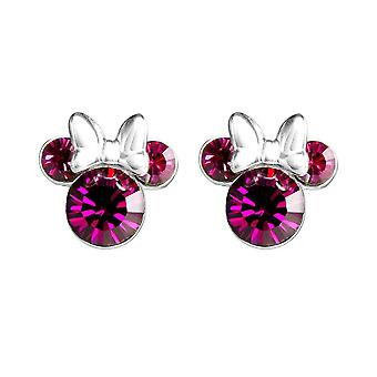 Disney Minnie Mouse Sterling Silver Pink Stone Stud Boucles d'oreilles - Boxed