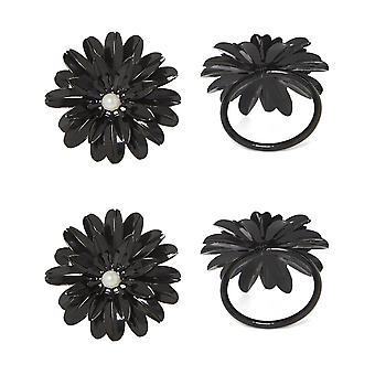 Vibhsa Black Floral Set Of 4 Napkin Rings