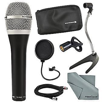 Beyerdynamic tg-v50d dynamisk kardioid mikrofon för sång och tillbehör bunt med pop filter, kabel, fibertique trasa och mer