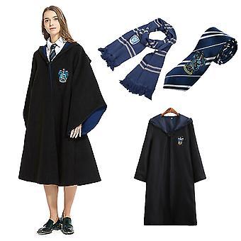 Adult Mens Womens Wizard Harry Potter Fancy Dress Cloak Costum Cosplay 3 PC Set