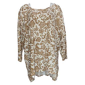 Isaac Mizrahi Live! Women's Top 3/4 Sleeve Floral Print Beige A384138
