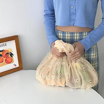 Spring Women Small Transparent Tote Mesh Cloth Bag Daisy Embroidery Handbag
