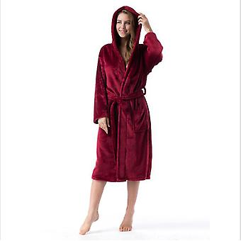 Winter Couple's Home Wear Plus Velvet Pajamas Hooded Flannel Pajamas