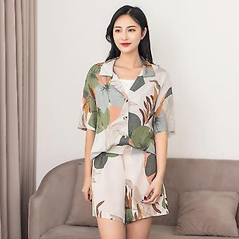Women's Short-sleeve Cropped Trousers Pajamas Set With Leaves Printing Casual