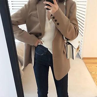 Spring Blazer Jacket, Women Casual Pockets, Long Sleeve, Work Suit Coat, Solid