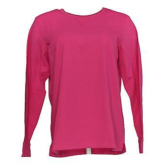 Denim & Co. Kvinder's Top Essentials Langærmet Træk over Dark Pink A240618