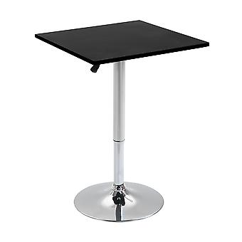 HOMCOM Modern Height Adjustable Counter Bar Table with 360° Swivel Tabletop and Electroplating Metal Base, Pub Desk for Living Room, Kitchen, Restaurant, Pub, Black and Silver