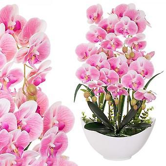 Kunst orchidee in een 60 cm pot wit + roze