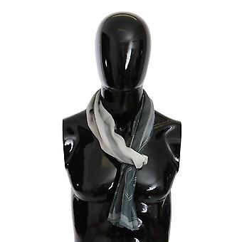 Gray Wool Viscose Foulard Patterned Branded Scarf
