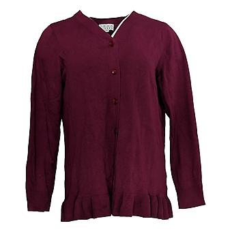 Joan Rivers Classics Collection Women's Sweater V Neck Cardigan Red A309634
