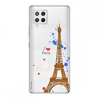 Scafo per Samsung Galaxy A42 5g in silicone flessibile 1 mm, Torre Eiffel di Parigi